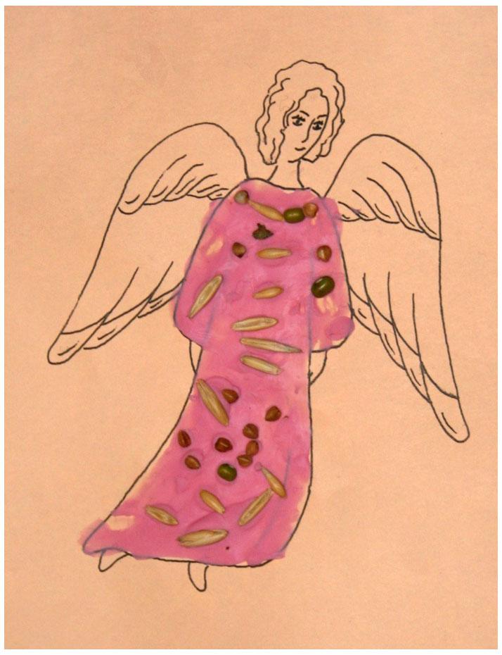 Поделки из крупы и пластилина - Ангел