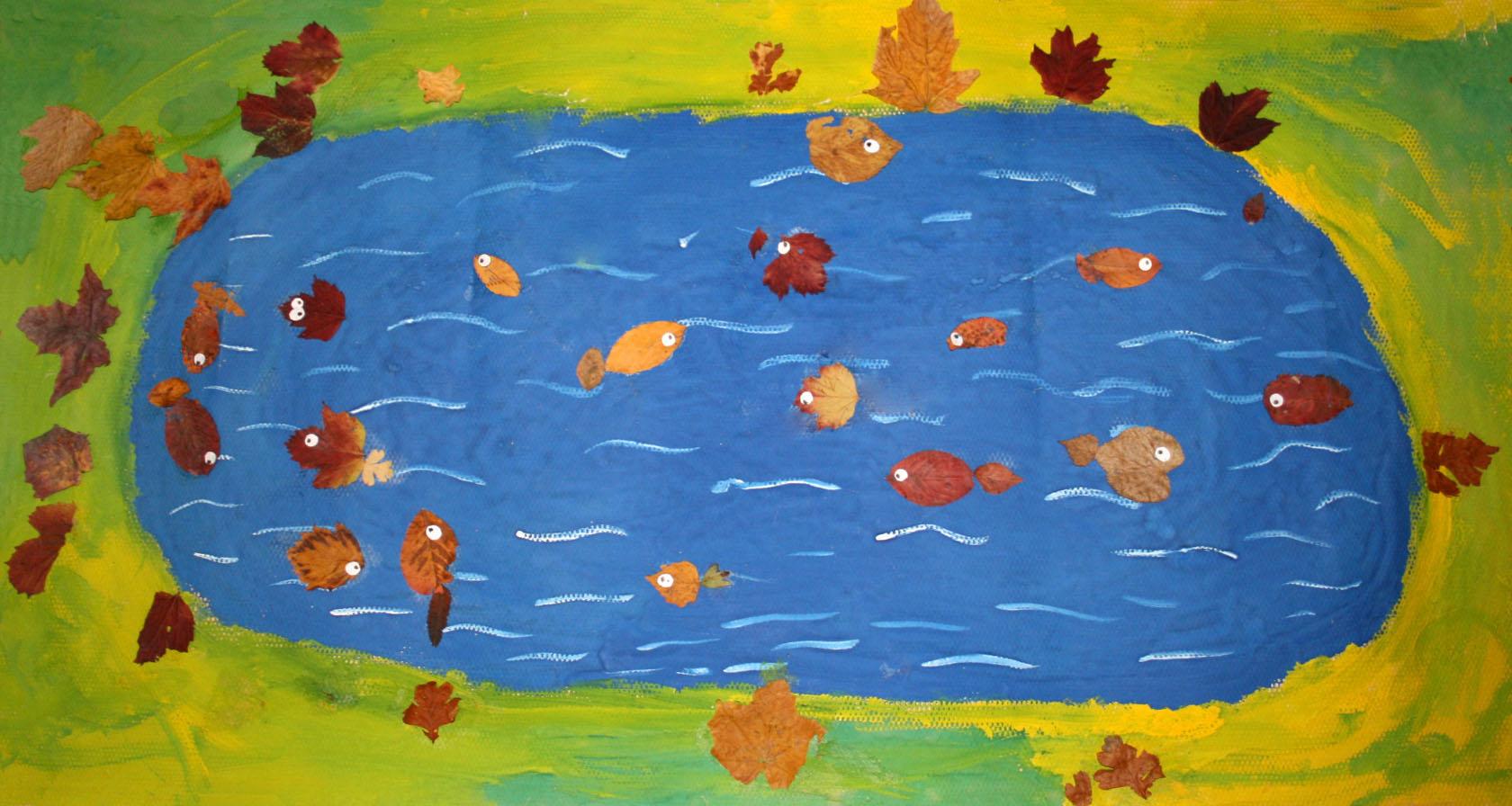 Поделки из осенних листьев- рыбки