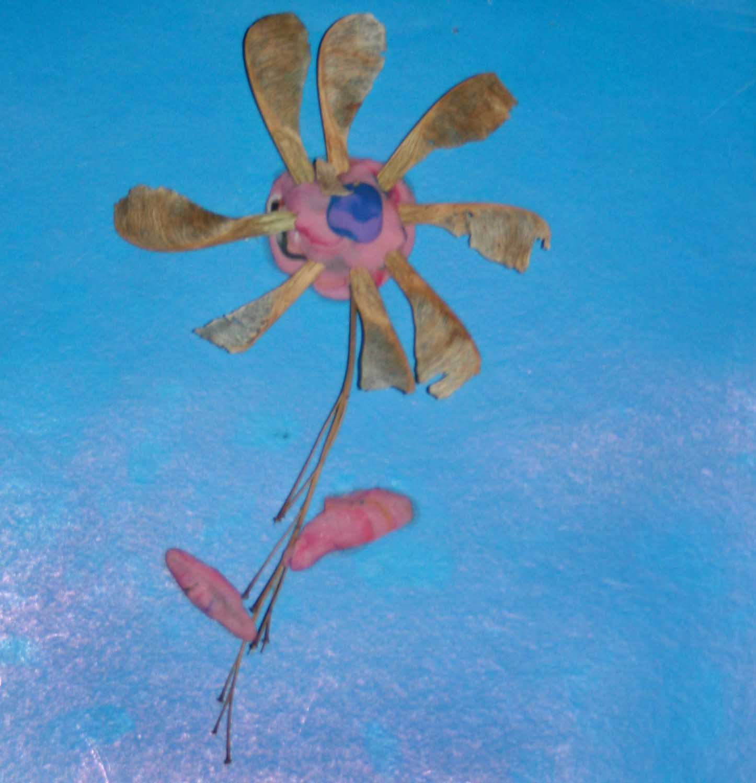 Поделки из крупы и пластилина - цветок