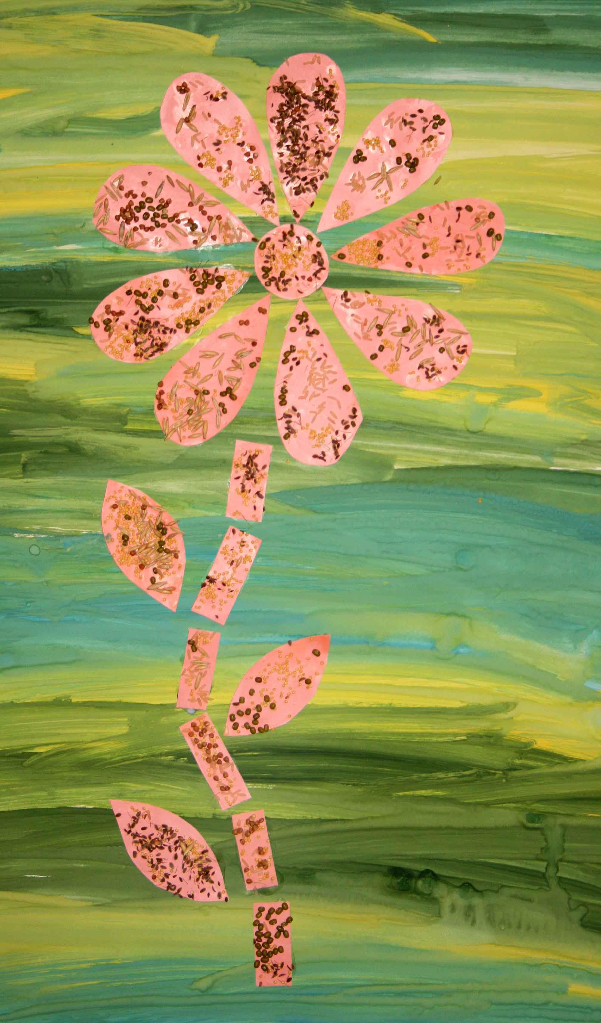 Поделки из крупы - цветок