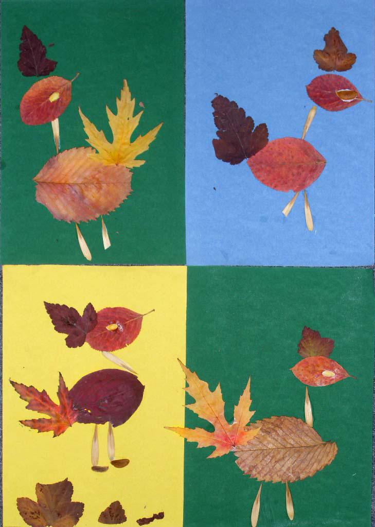 Поделки из осенних листьев- страус