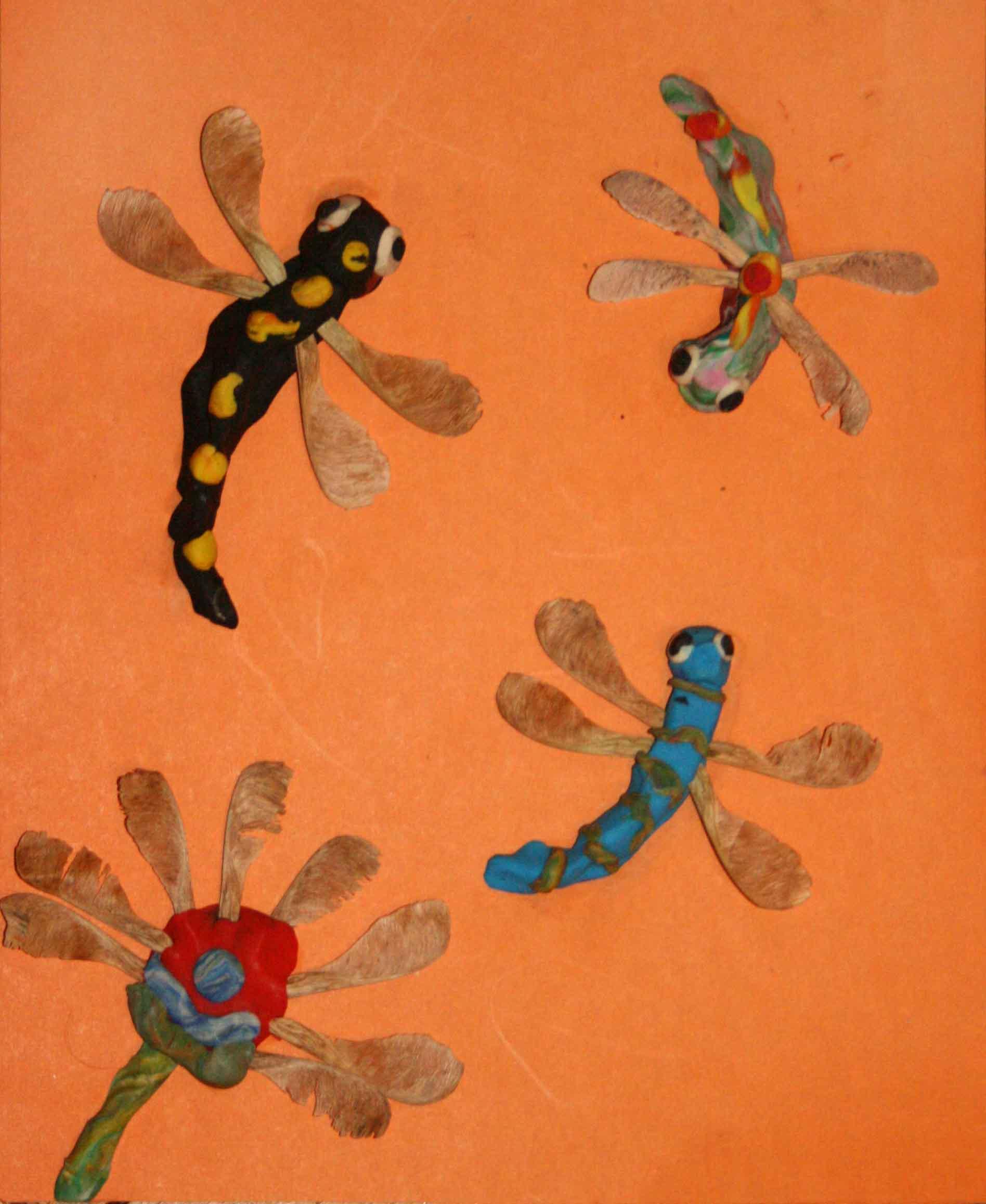Поделки из крупы и пластилина - стрекоза